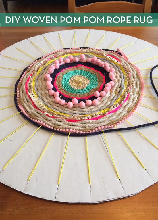 DIY Woven Pom Pom Rope Rug