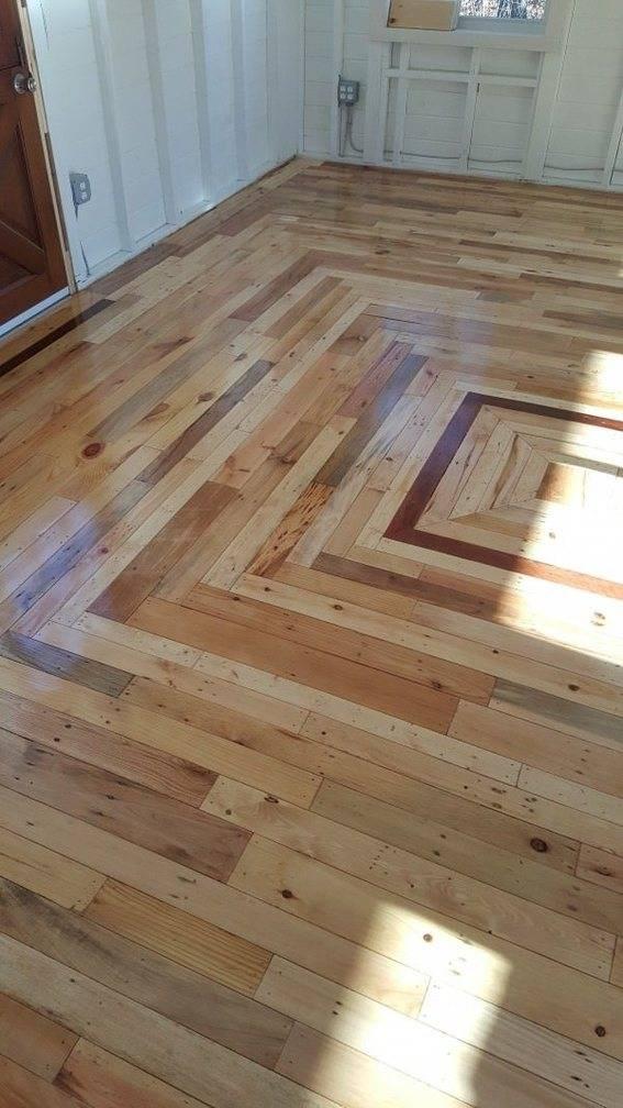 Wood pallet flooring idea