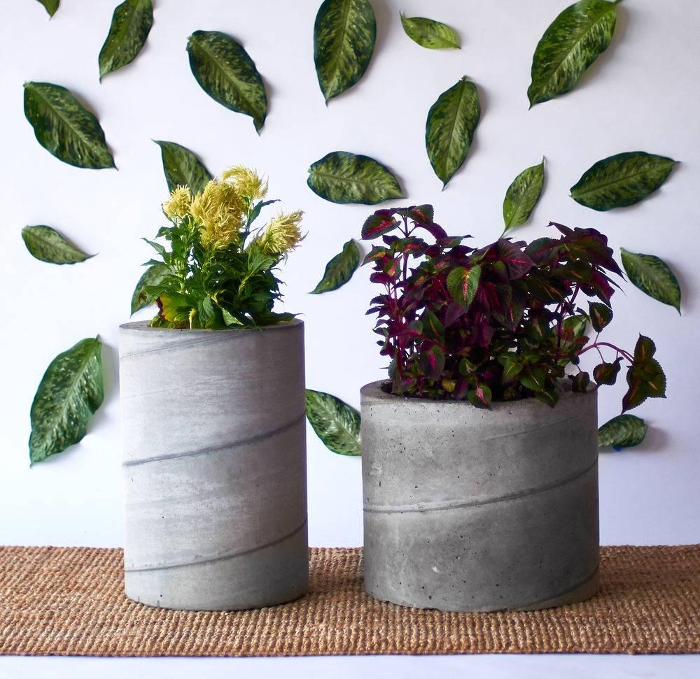 DIY tube concrete planter