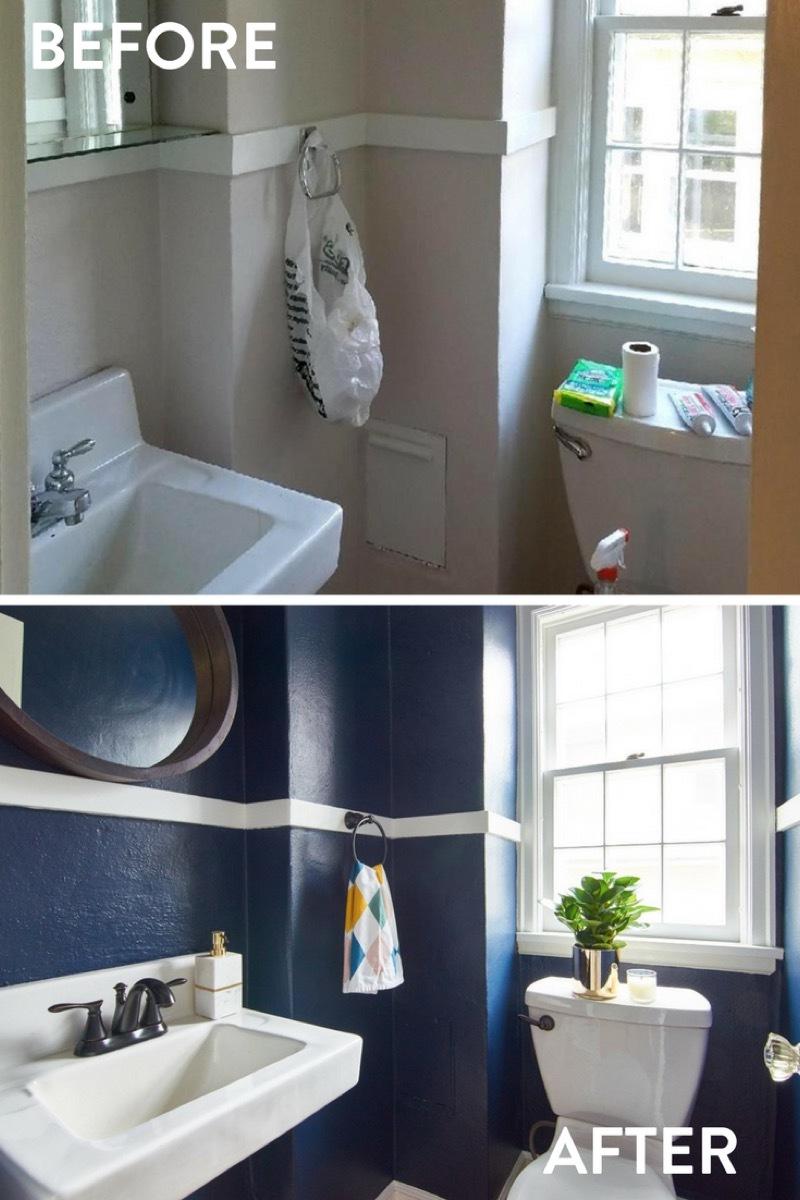 Dark, dramatic bathroom makeover using Sherwin-Williams Naval paint