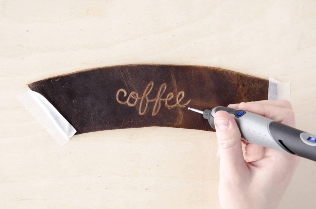Leather coffee sleeve   Step 3