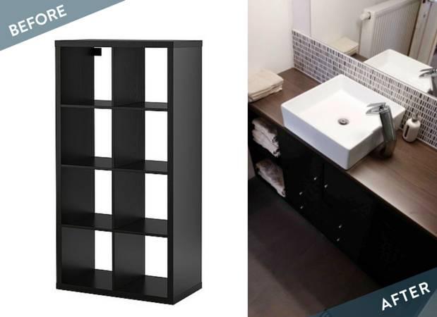 Ikea Bathroom Vanity Using A Kallax Shelving Unit Curbly
