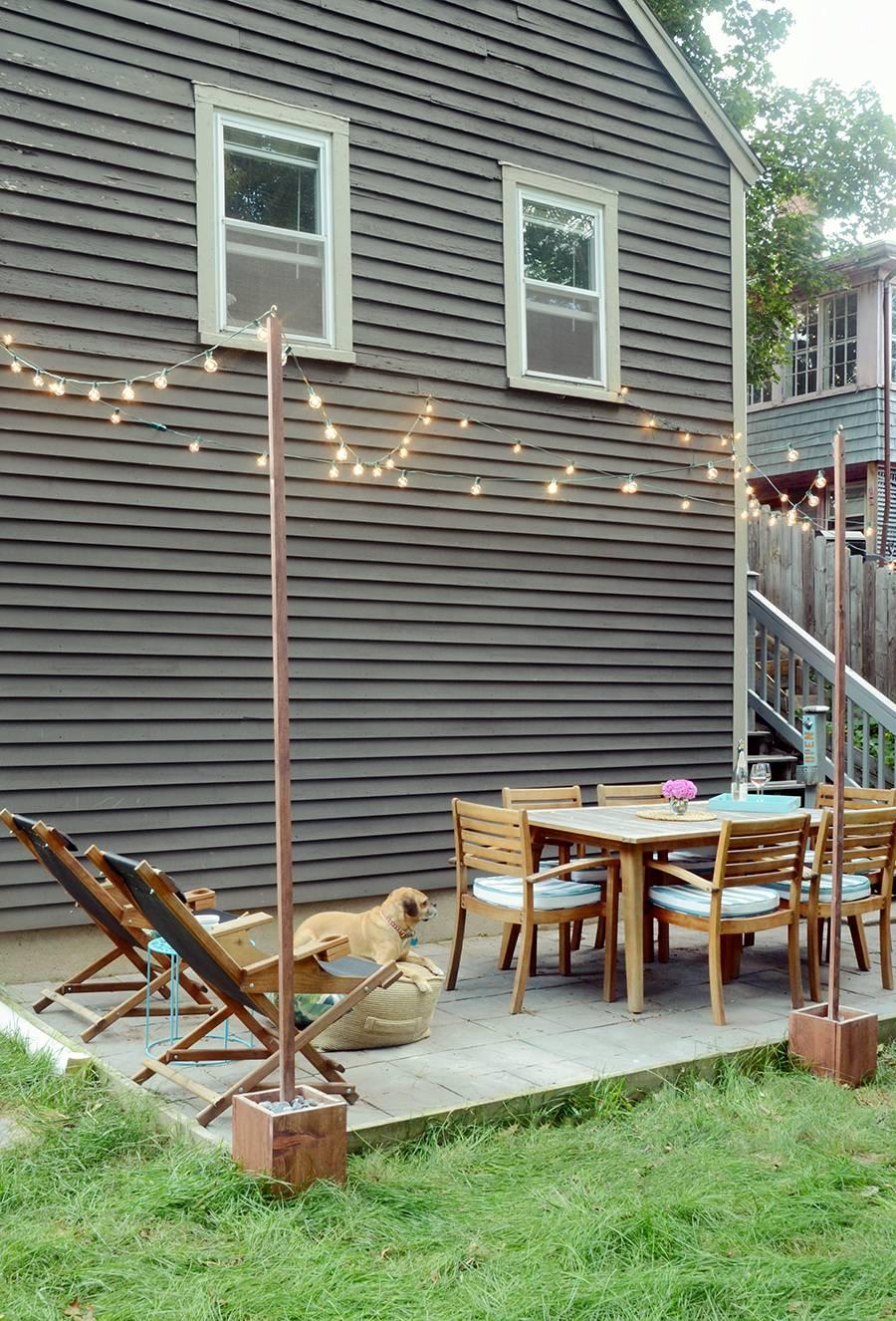 Outdoor Patio Lighting Ideas Australia: DIY Outdoor Bistro Light Stands For Your Patio